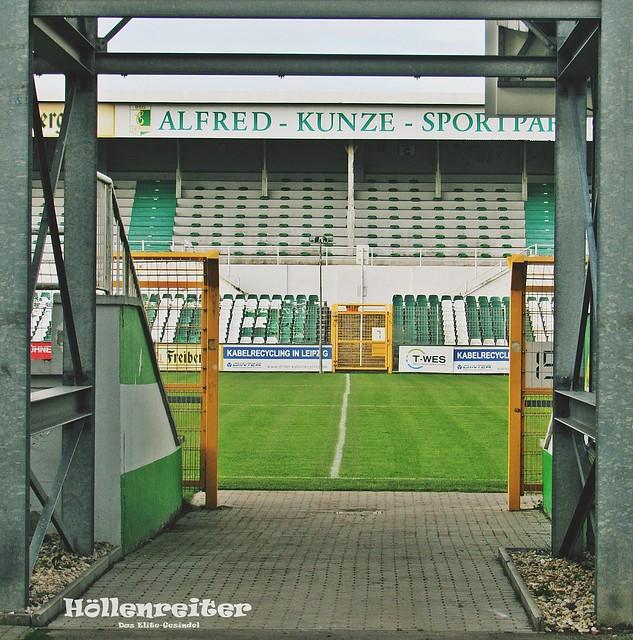 Einen leeren Alfred-Kunze-Sportpark wie hier vor dem Spiel gegen den FSV Zwickau 2017 erwarten die Mannschaften auch heute.